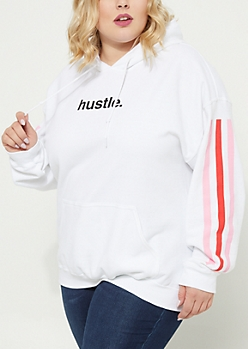 Plus Hustle White Stripe Hoodie