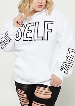 Plus More Self Love White Hoodie