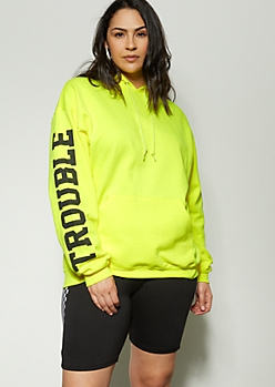 Plus Yellow Trouble Maker Graphic Hoodie