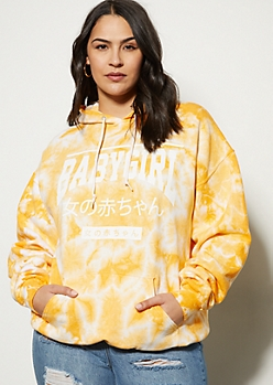 Plus Yellow Tie Dye Kanji Baby Girl Graphic Hoodie