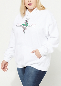 Plus Girl Gang Snake White Hoodie