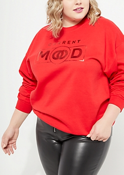 Plus Red Current Mood Foil Sweatshirt