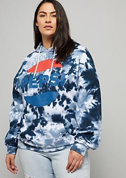 Plus Navy Tie Dye Pepsi Oversized Graphic Hoodie