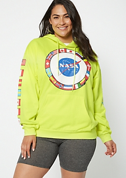 Plus Neon Yellow World Flag NASA Graphic Hoodie