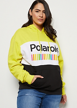 Plus Neon Yellow Colorblock Polaroid Graphic Hoodie