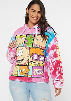Plus Pink Rainbow Tie Dye Rugrats Graphic Hoodie