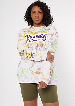 Plus White Tie Dye Rugrats Graphic Sweatshirt