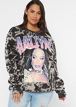 Plus Black Tie Dye Aaliyah Graphic Sweatshirt