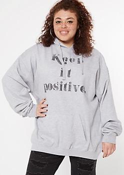Plus Heather Gray Keep It Positive Graphic Hoodie