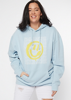 Plus Light Blue Smile More Graphic Hoodie