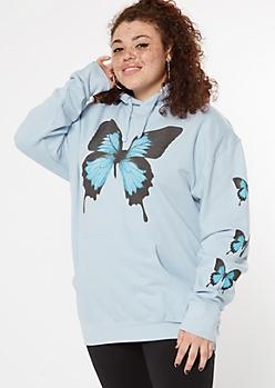 Plus Blue Butterfly Print Hoodie