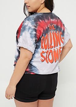 Plus Tie Dye Rolling Stones Cutout Tee