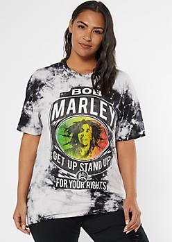 Black Tie Dye Bob Marley Graphic Tee