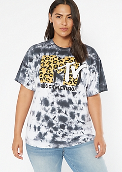 Plus Gray Tie Dye MTV Graphic Tee