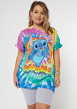 Plus Rainbow Ohana Stitch Graphic Tee