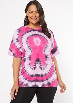 Plus Pink Ribbon Tie Dye Print Tee