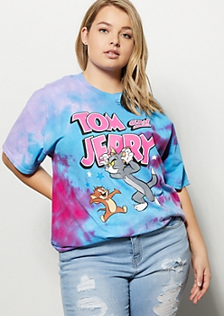 Plus Blue Tie Dye Tom and Jerry Graphic Tee