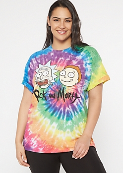 Plus Rainbow Tie Dye Rick And Morty Graphic Tee
