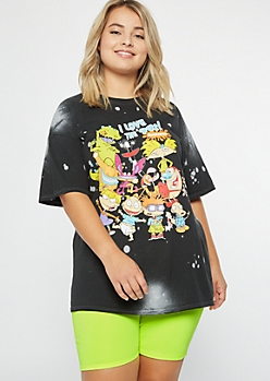 Plus Black Bleached 90s Nickelodeon Graphic Tee