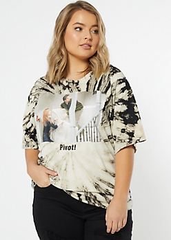 Plus Tan Tie Dye Friends Pivot Meme Graphic Tee