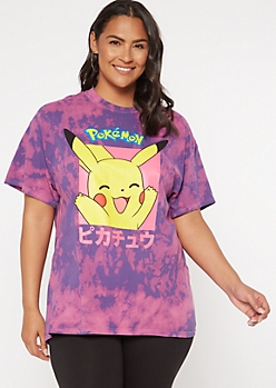 Plus Purple Tie Dye Kanji Pikachu Graphic Tee