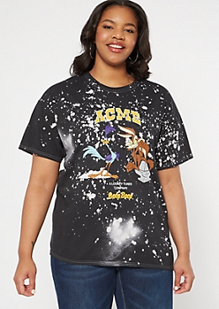 Plus Black Bleached Looney Tune Graphic Tee