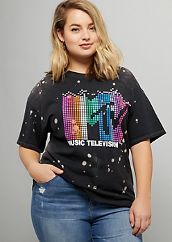 Plus Black Bleached Pixel MTV Oversized Graphic Tee