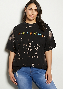 Plus Black Bleached Friends Graphic Tee