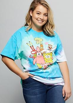 Plus Bright Tie Dye SpongeBob Oversized Graphic Tee