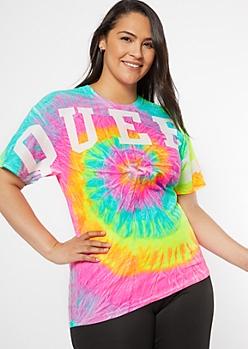 Plus Neon Spiral Tie Dye Queen Graphic Tee