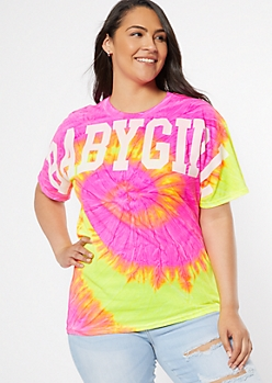 Plus Neon Spiral Tie Dye Baby Girl Graphic Tee
