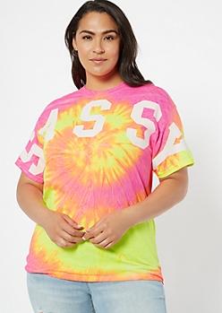 Plus Neon Pink Tie Dye Sassy Graphic Tee