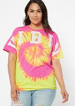 Plus Neon Pink Tie Dye Vibin Graphic Tee