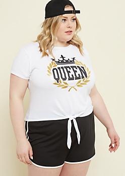 Plus White Queen Crown Tie Front Tee