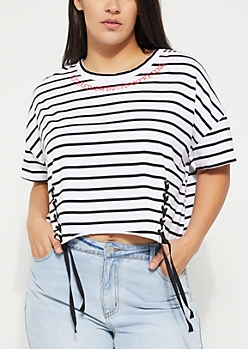 Plus Black Striped Not Like Them Lace-Up Boxy Crop Top