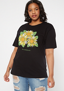 Plus Black Los Angeles Sunflower Graphic Tee