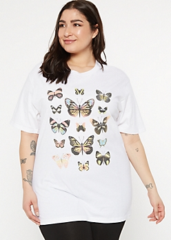 Plus White Chart Butterfly Graphic Tee