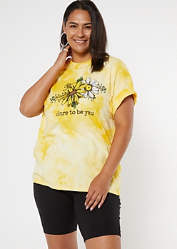 Plus Yellow Tie Dye Dare To Be You Graphic Tee