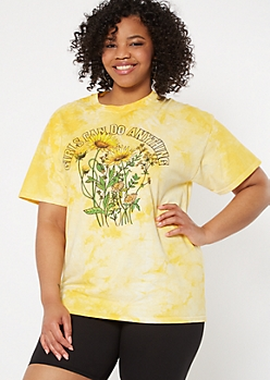 Plus Yellow Tie Dye Girls Can Do Anything Graphic Tee