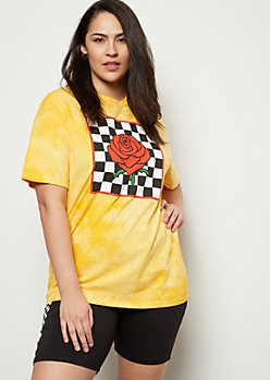 Plus Yellow Tie Dye Rose Checkered Print Graphic Tee