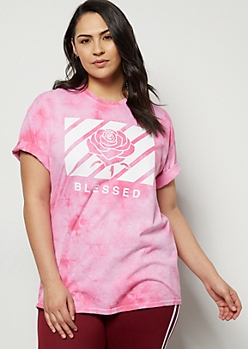 Plus Pink Tie Dye Blessed Rose Graphic Tee
