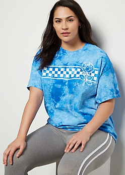 Plus Blue Tie Dye Checkered Print Rose Graphic Tee