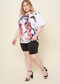 Plus White Oversized Techno Girl Scuba Knit Tee