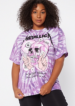 Plus Purple Tie Dye Skull Metallica Graphic Tee