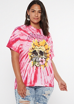Plus Red Tie Dye Flaming Skull Metallica Graphic Tee
