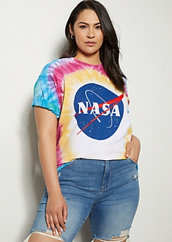 Plus Rainbow Tie Dye NASA Graphic Tee