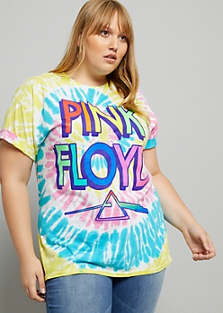 Plus Bright Tie Dye Retro Pink Floyd Oversized Tee