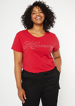Plus Red Honey Rhinestone Baby Tee