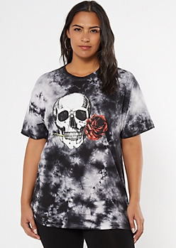 Plus Black Tie Dye Rose Skull Graphic Tee