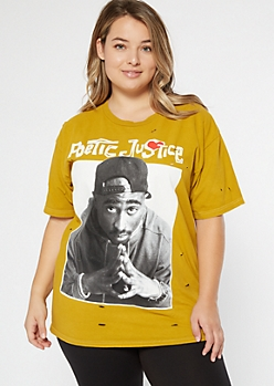 Plus Yellow Poetic Justice Distressed Graphic Tee